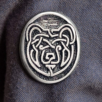 """Celtic Bear Pewter Pin - 1""""wide with sturdy 2 pin back."""