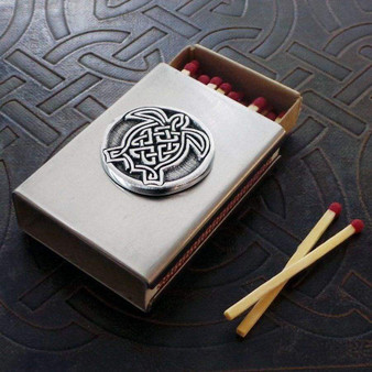 Celtic Turtle Match Box in Stainless Steel
