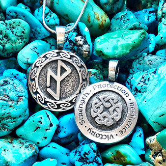 Resilience Pendant Featuring Essential Workers Bindrune - Strength Protection Resilience Victory