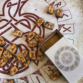 Pocket Travel Oak Rune Gift Set in Celtic Knot Stainless Steel box with travel rune cloth