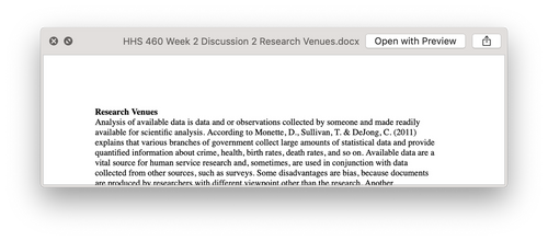 Ashford HHS 460 Week 2 Discussion 2 Research Venues