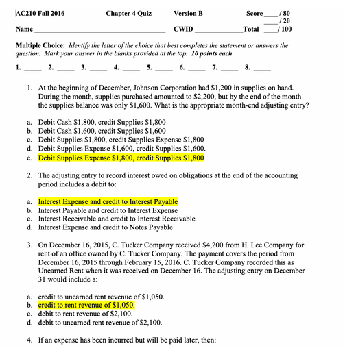 AC 210 Intro To Accounting Chapter 4 Quiz Answers (UA)