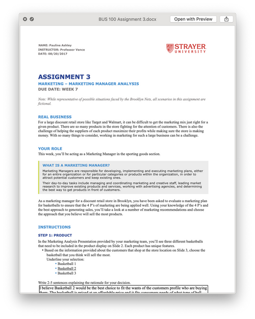 Strayer BUS 100 Assignment 3 MARKETING – MARKETING MANAGER ANALYSIS