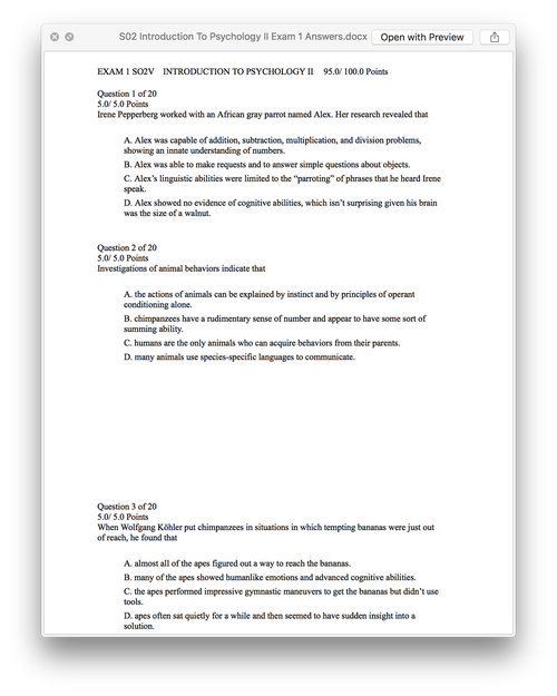 S02 Introduction To Psychology II Exam 1 Answers (Ashworth College)