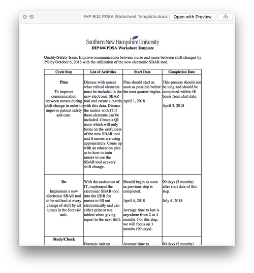 IHP 604 PDSA Worksheet Template