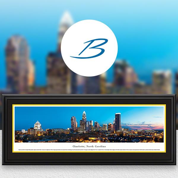Charlotte, NC City Skyline Panoramic Wall Art