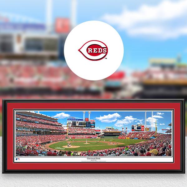 Cincinnati Reds MLB Baseball Framed Panoramic Fan Cave Decor