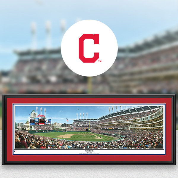 Cleveland Indians MLB Baseball Framed Panoramic Fan Cave Decor