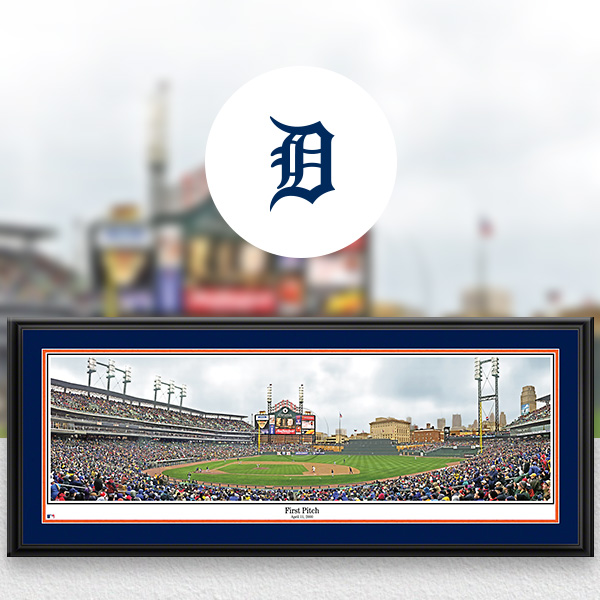 Detroit Tigers MLB Baseball Framed Panoramic Fan Cave Decor
