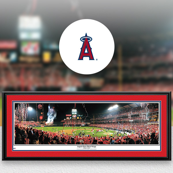 Los Angeles Angels MLB Baseball Framed Panoramic Fan Cave Decor