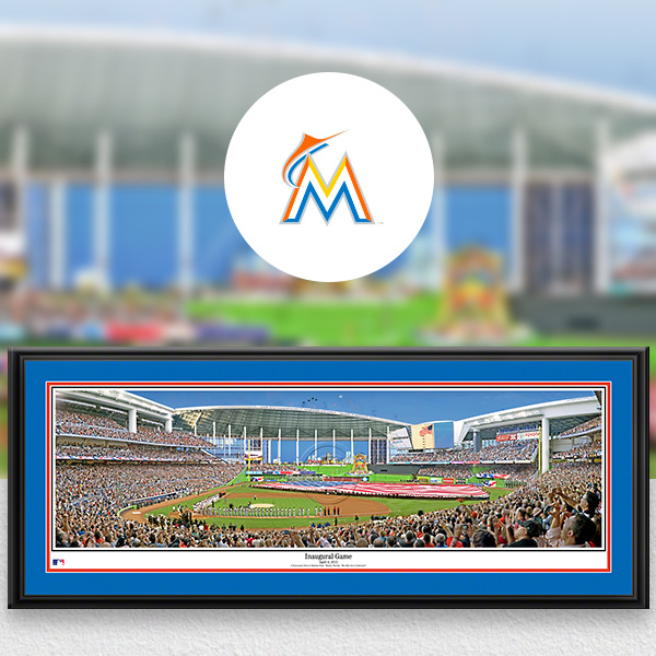 Miami Marlins MLB Baseball Framed Panoramic Fan Cave Decor