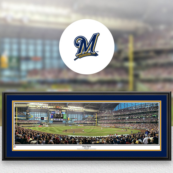 Milwaukee Brewers MLB Baseball Framed Panoramic Fan Cave Decor