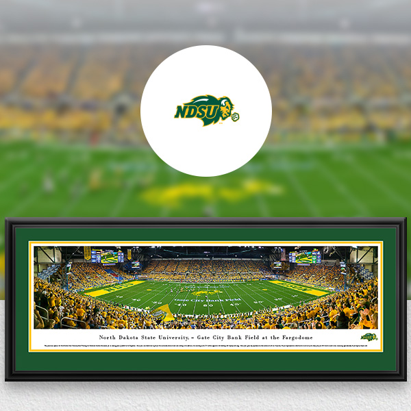 North Dakota State Bison Panoramic Posters and Fan Cave Decor