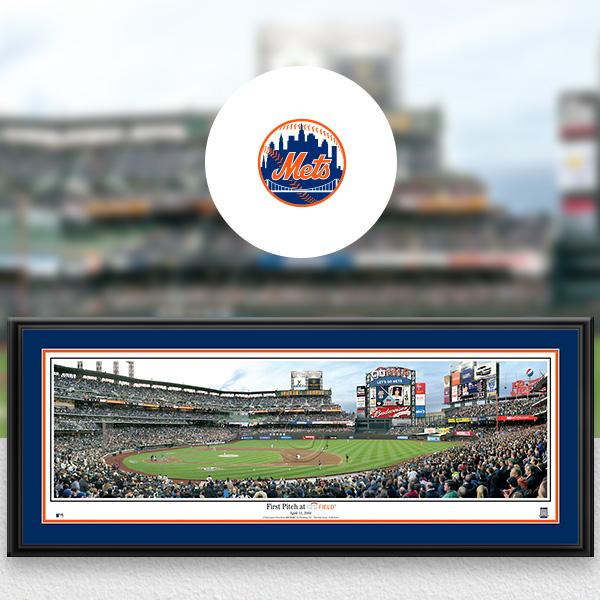 New York Mets MLB Baseball Framed Panoramic Fan Cave Decor