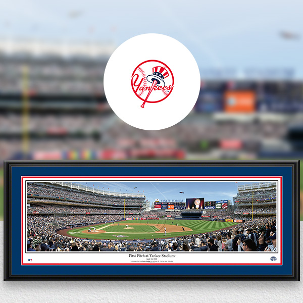 New York Yankees MLB Baseball Framed Panoramic Fan Cave Decor