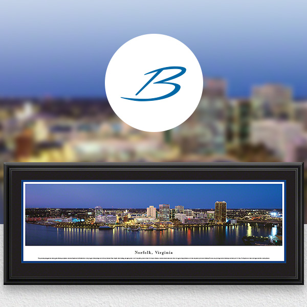 Norfolk, VA City Skyline Panoramic Wall Art