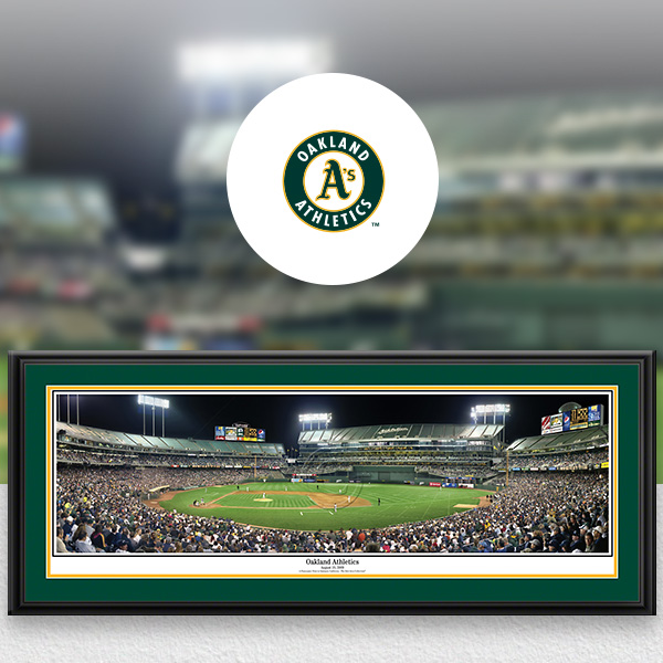 Oakland Athletics MLB Baseball Framed Panoramic Fan Cave Decor