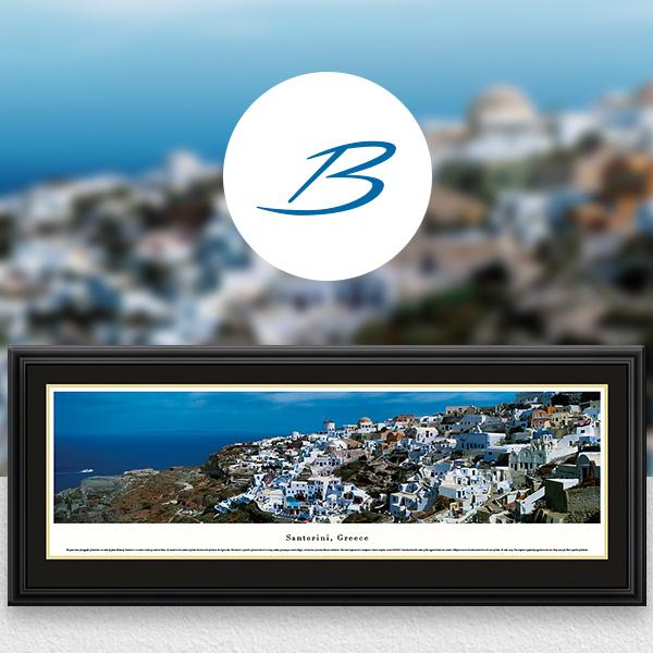 Santorini, Greece City Skyline Panoramic Wall Art