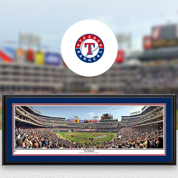 Texas Rangers MLB Baseball Framed Panoramic Fan Cave Decor