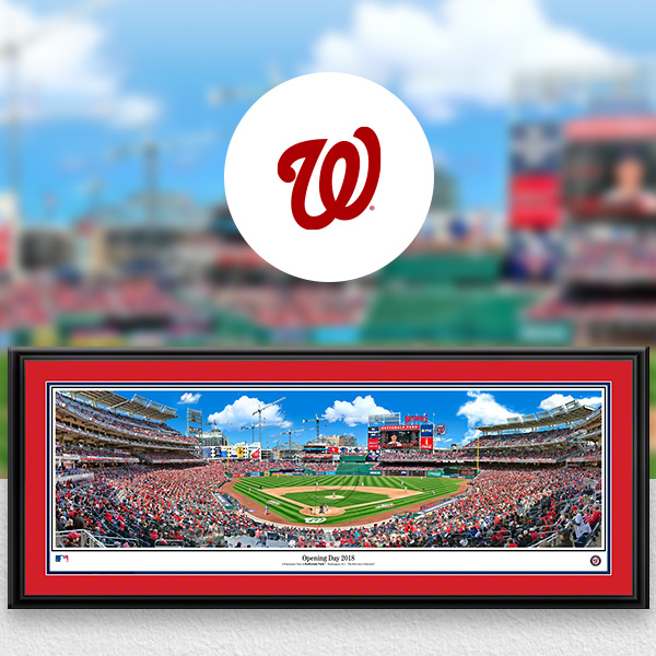 Washington Nationals MLB Baseball Framed Panoramic Fan Cave Decor