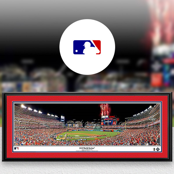 World Series MLB Baseball Framed Panoramic Fan Cave Decor