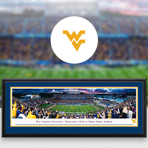 West Virginia Mountaineers Panoramic Posters and Fan Cave Decor