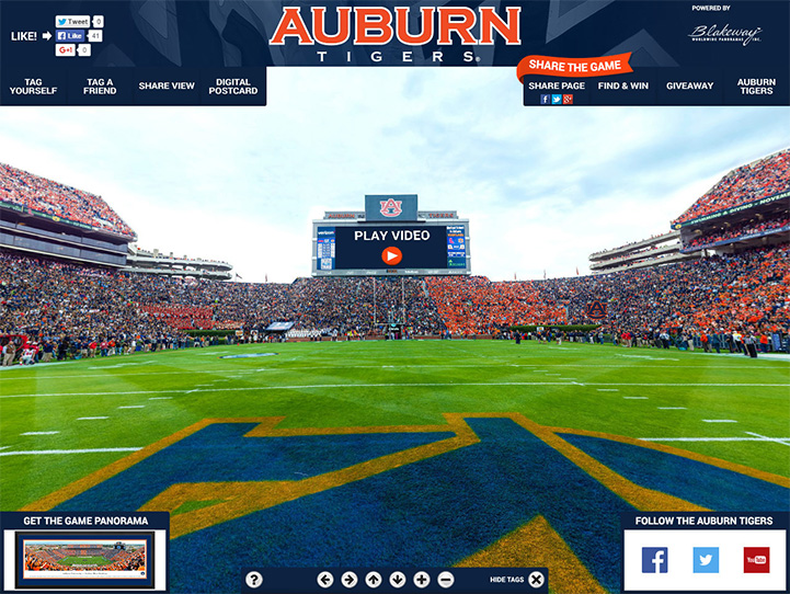 Auburn Tigers 360° Gigapixel Fan Photo