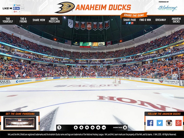 Anaheim Ducks 360° Gigapixel Fan Photo