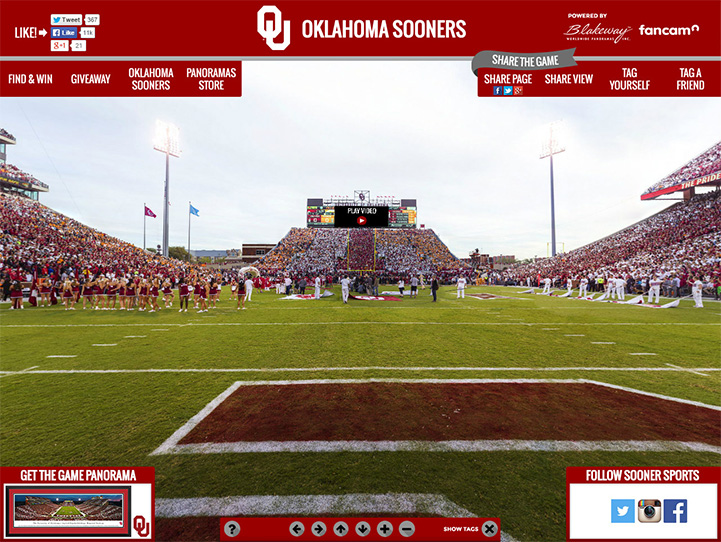 Oklahoma Sooners 360° Gigapixel Fan Photo