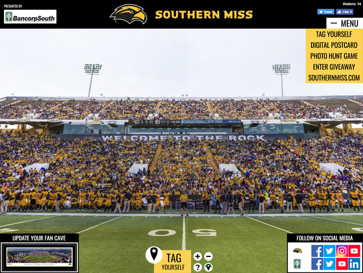 Southern Miss Golden Eagles Football 360 Gigapixel Fan Photo