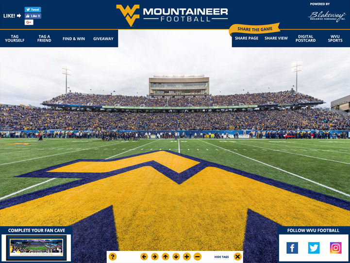 WVU Mountaineers 360° Gigapixel Fan Photo
