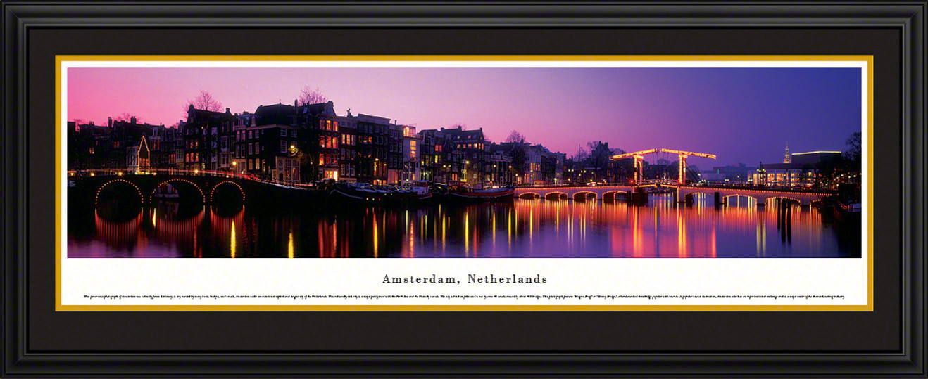 Amsterdam, Netherlands Panoramic Skyline Picture - Twilight