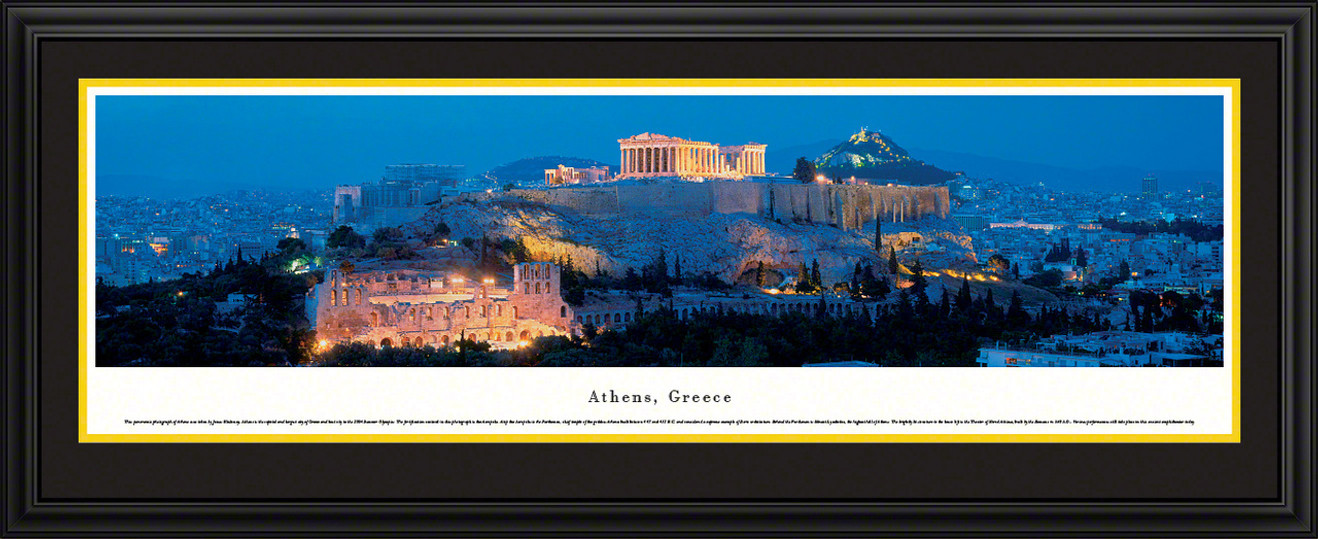 Athens, Greece City Skyline Panoramic Picture - Twilight