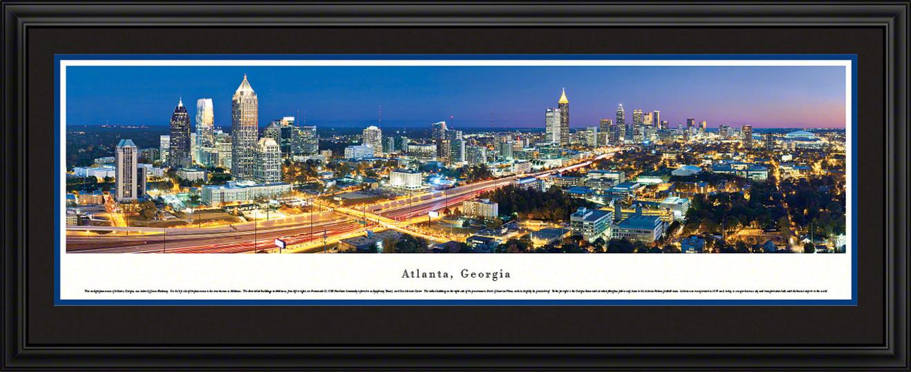 Atlanta, Georgia City Skyline Panoramic Picture - Twilight
