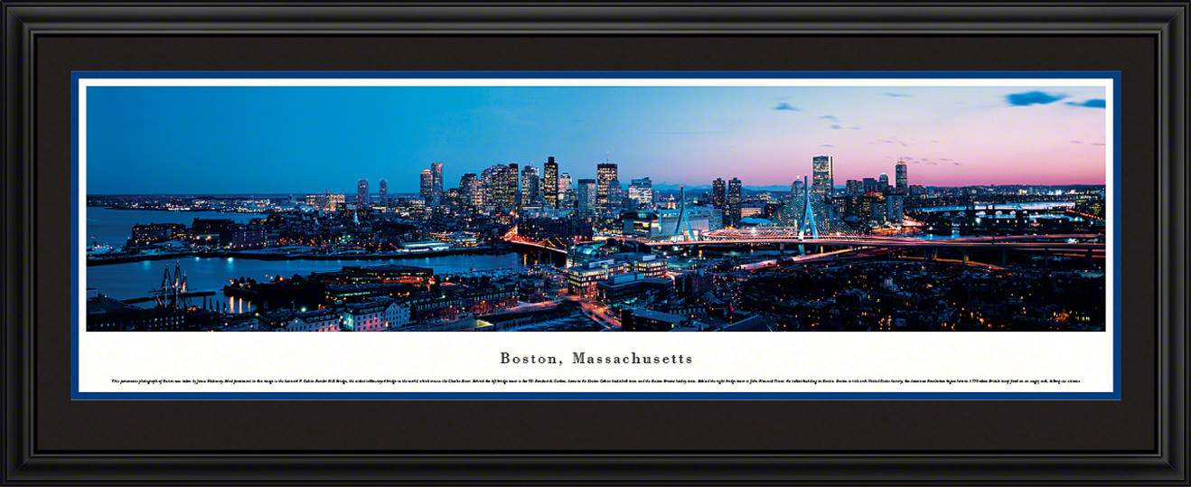 Boston, Massachusetts City Skyline Panoramic Picture - Twilight