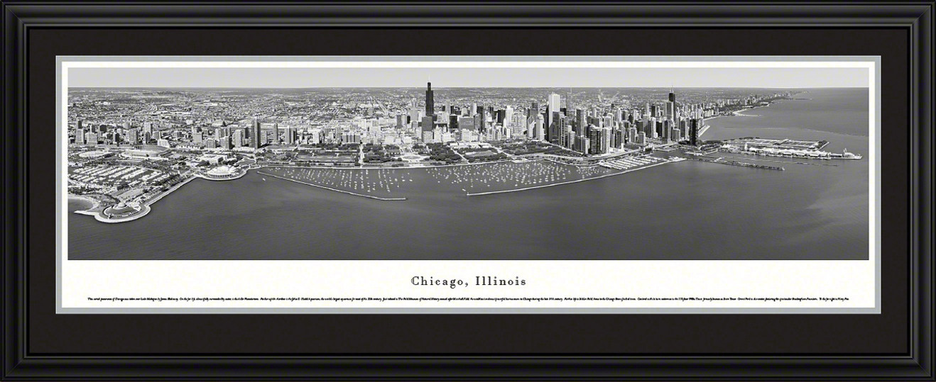 Chicago, Illinois Skyline Panoramic Picture - Black and White