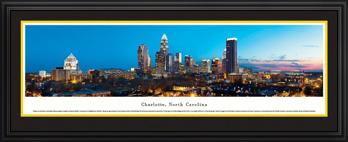 Charlotte, North Carolina City Skyline Panoramic Picture - Twilight
