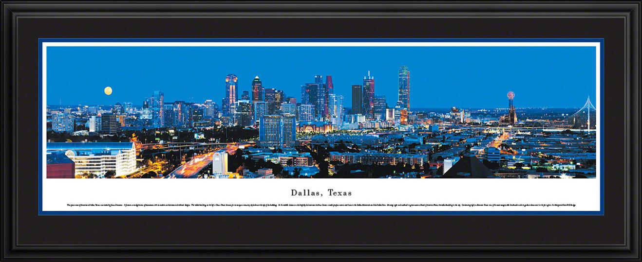 Dallas, Texas City Skyline Panoramic Picture - Twilight
