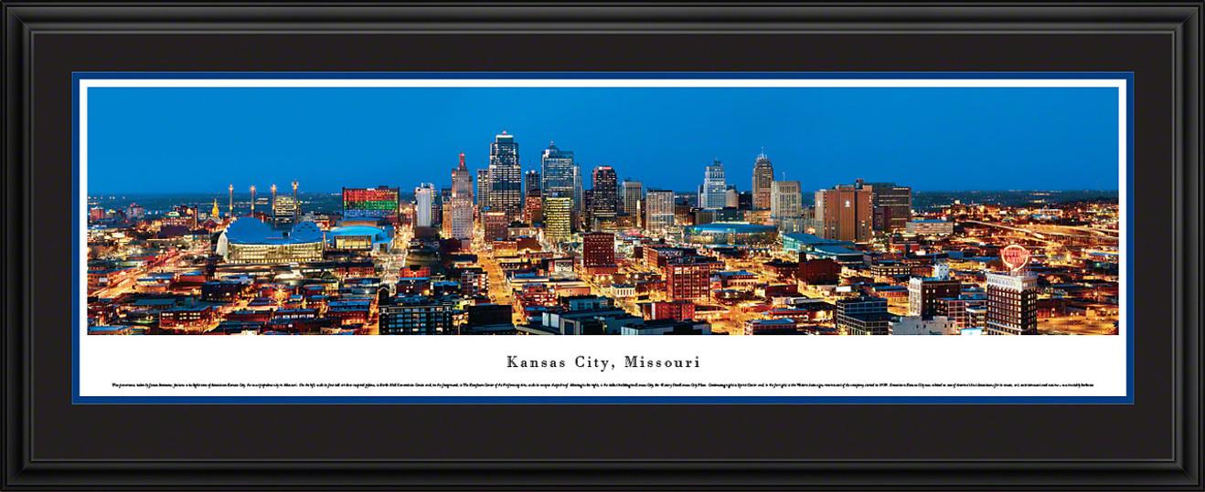 Kansas City, Missouri City Skyline Panoramic Picture - Twilight