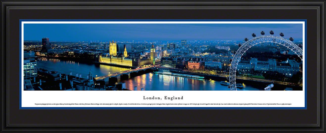 London, England City Skyline Panorama - Twilight - London Eye