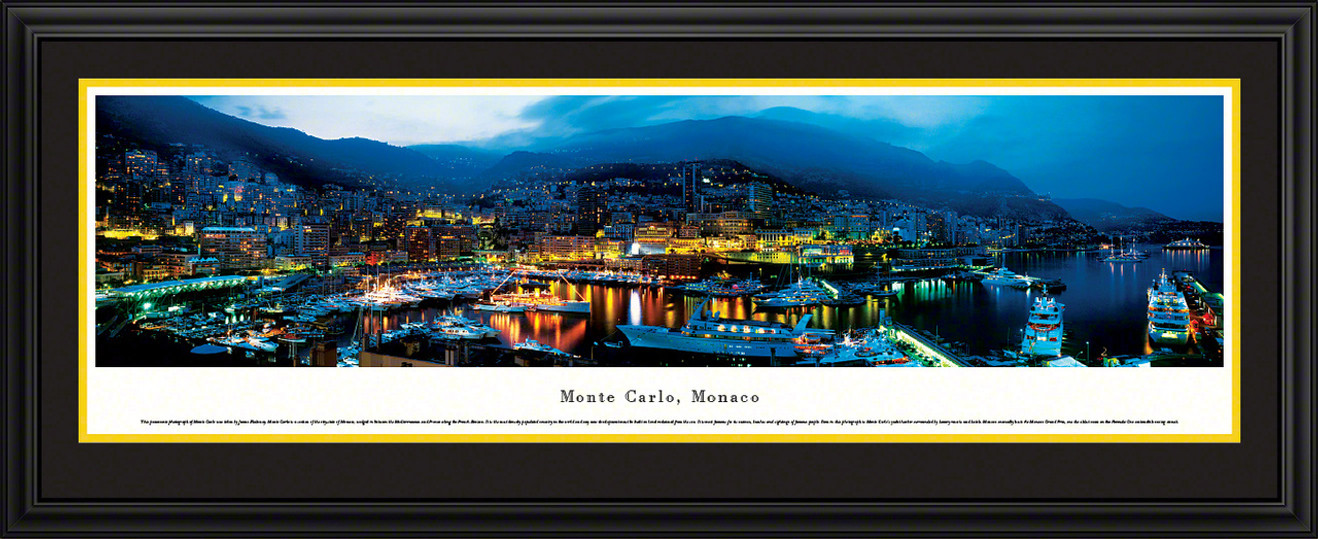 Monte Carlo, Monaco City Skyline Panoramic Picture - Twilight