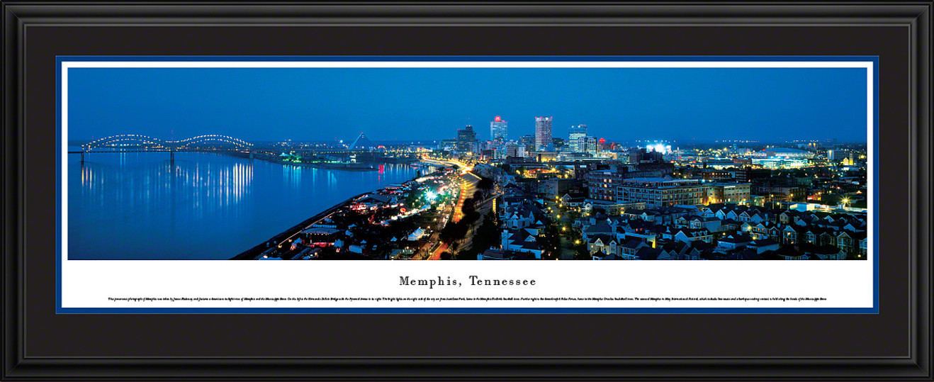 Memphis, Tennessee City Skyline Panoramic Picture - Twilight