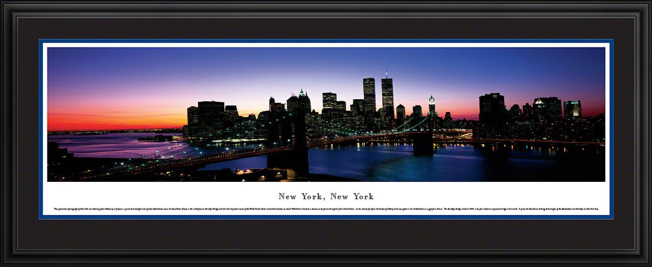 New York City Skyline Panoramic Picture - Brooklyn Bridge - Twilight