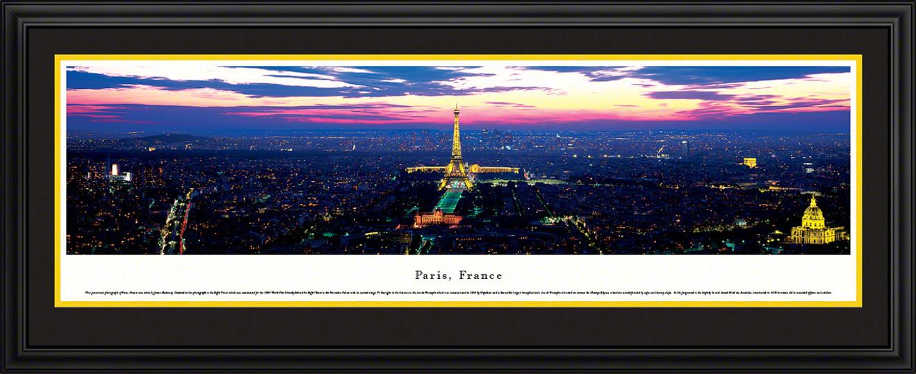 Paris, France City Skyline Panoramic Picture - Twilight