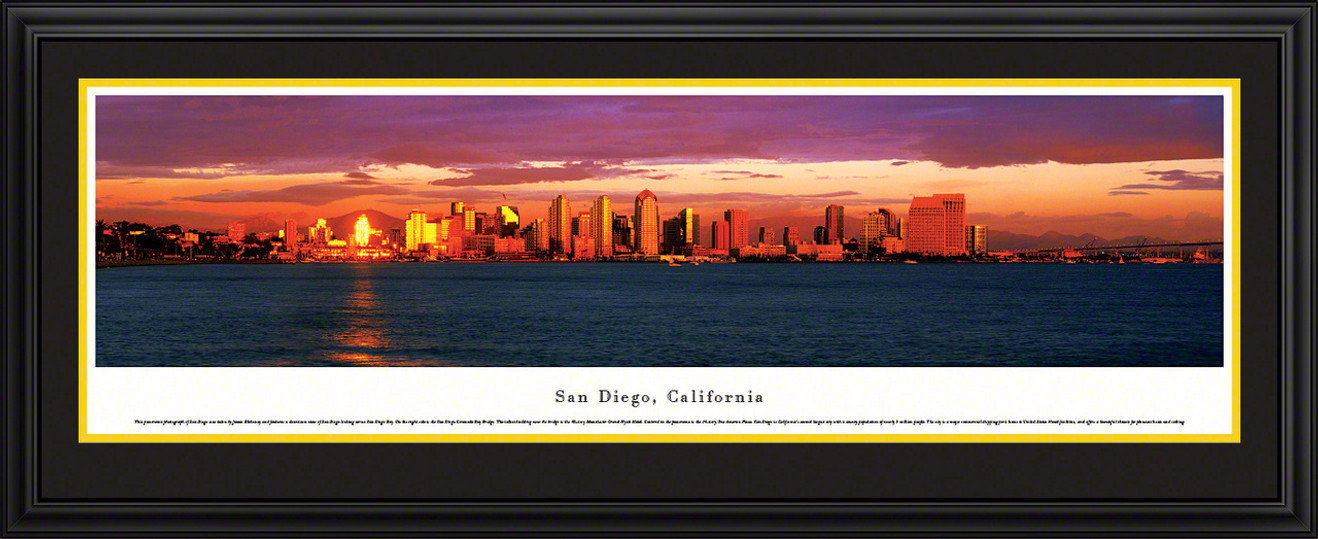 San Diego, California Panoramic City Skyline Picture - Twilight