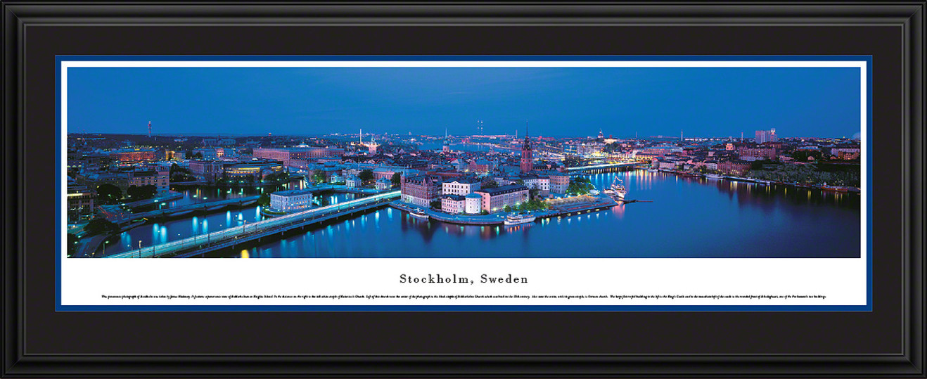 Stockholm, Sweden City Skyline Panoramic Picture - Twilight