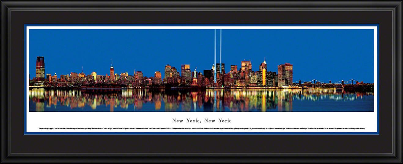 New York, New York Skyline Panorama - Manhattan Tribute in Light - Twilight