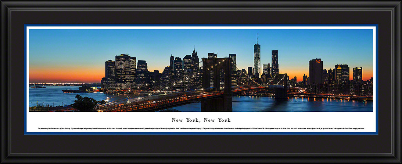 New York City Skyline Panorama - Brooklyn Bridge - Twilight