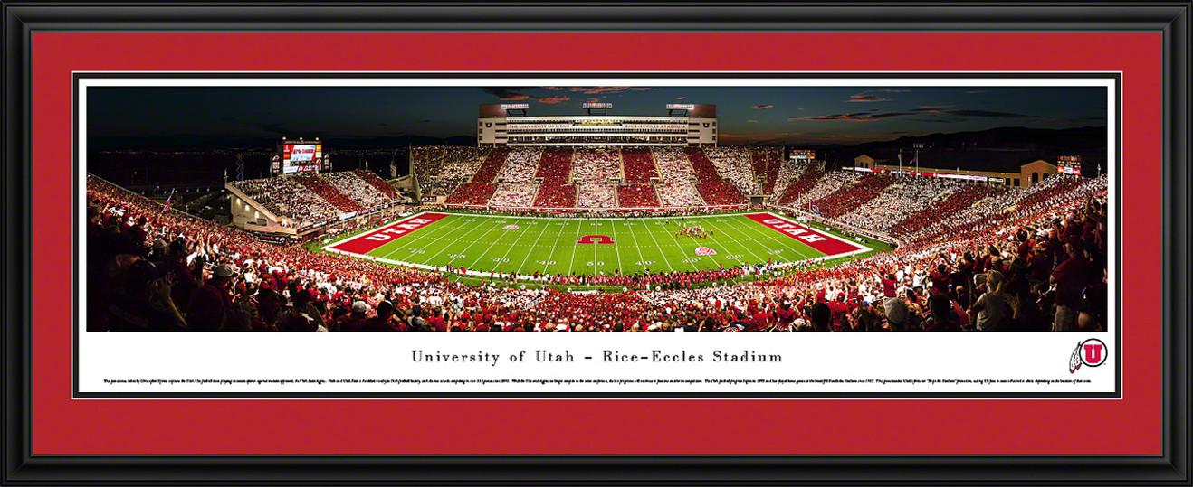 Utah Utes Football Panoramic Print - Rice-Eccles Stadium Stripe Game