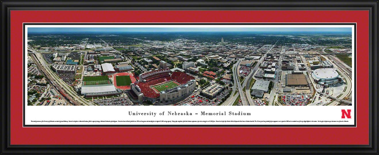 Nebraska Huskers Aerial Panoramic Picture - Memorial Stadium